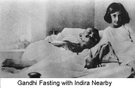 Gandhi fasting and Indira