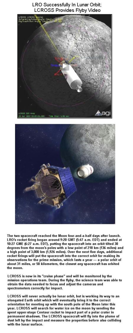 Fig 4 LRO & LCROSS in Lunar Orbits