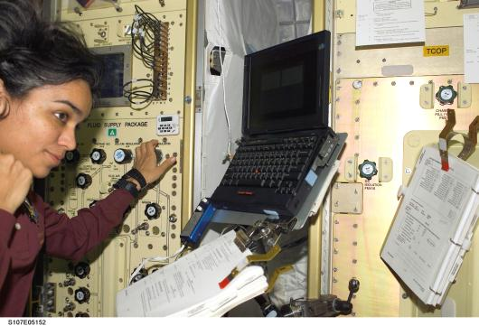 Fig 7  Kalpana chawla in the Control Console