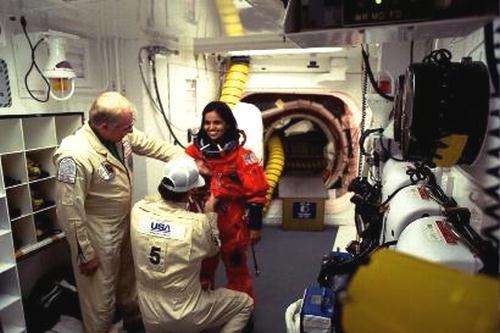 Fig 8 Kalpana Chawla inside the Space shuttle