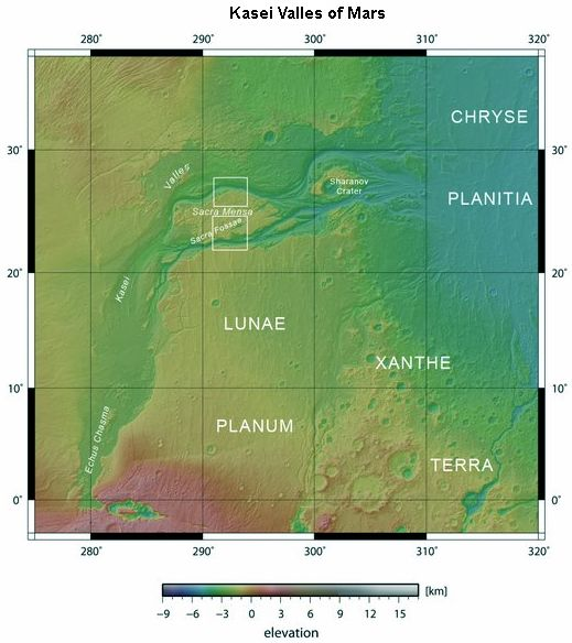 Kasei Valles Maps of Mars