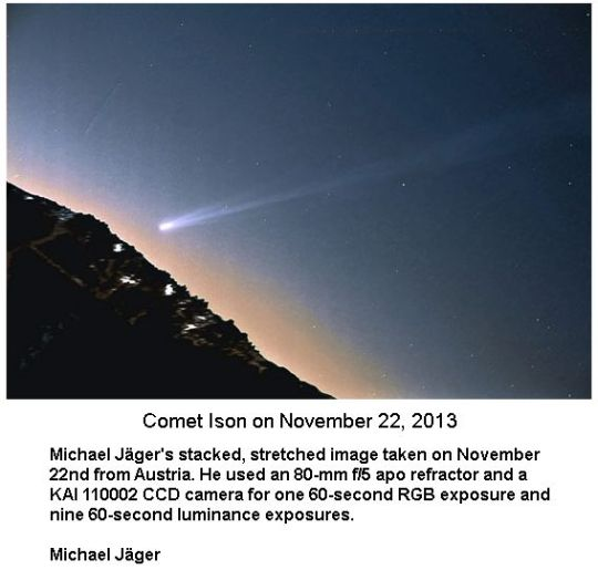 Comet Ison on Nov 22 2013