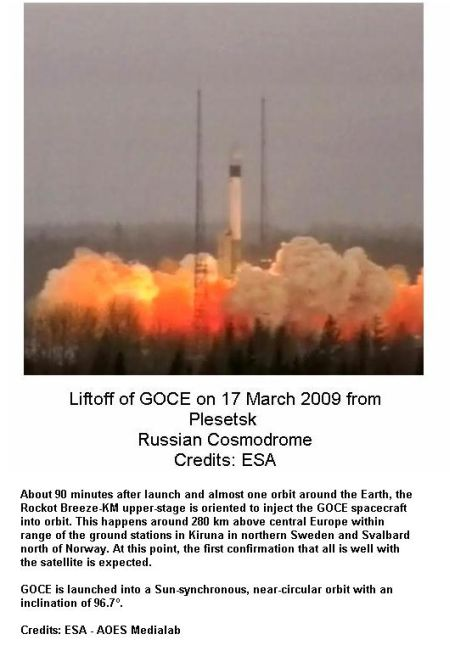 Fig 1A GOCE Lift off from Russian Cosmodrome
