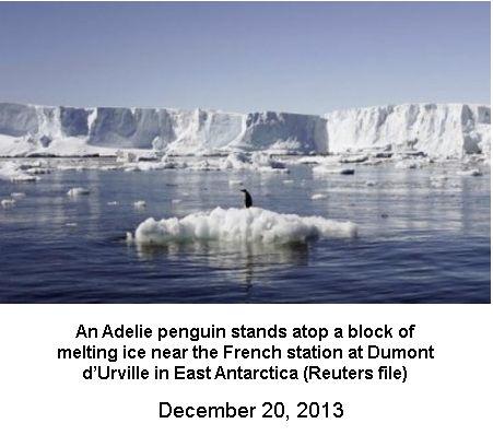 Antarctica Icy rocks melting