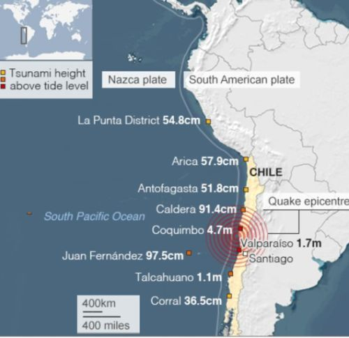 Location of Chile earthquake
